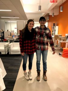 Sam and Hersh in matching flannel