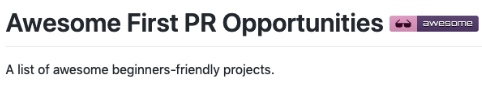 Screencap of article title: Awesome first PR opportunities