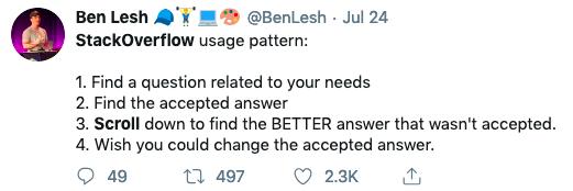 Screen capture of tweet on stack overflow usage patterns from BenLesh (@BenLesh)