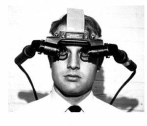 Man wearing Sword of Damocles VR device