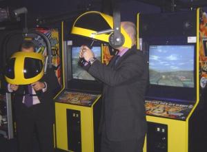 Man using VR gaming machine